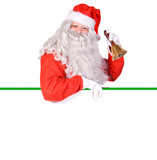 Santa Claus holding a blank sign isolated on white background