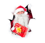 Santa Claus gift pokes out of the hole poster