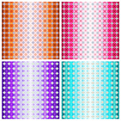 Set of four colorful geometric patterns