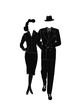 vintage gangster couple in silhouette