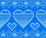Blue knitted hearts vector seamless pattern