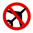 panneau non à l'aéroport / avion interdit