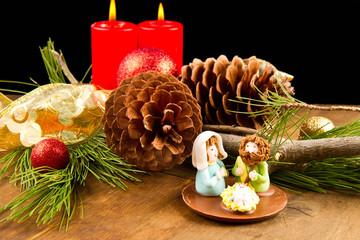 presepe di cioccolato con decorazioni natalizie