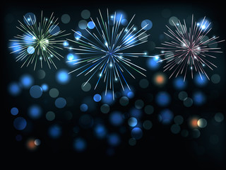 Holiday background with colorful fireworks. Vector illustration
