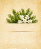 Christmas retro background with tree branches and snowflake. Vec