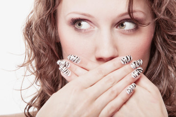 surprised woman face, girl covering her mouth over white