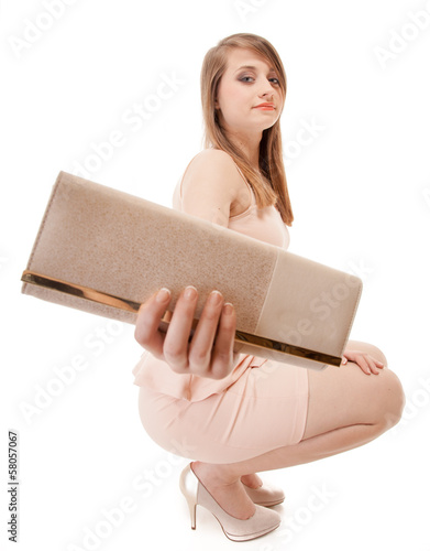 beautiful young fashion woman with handbag isolated