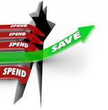 Save Vs Spend Arrow Rising Saving Money Future Investment poster