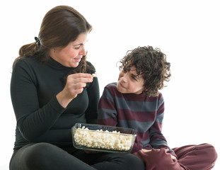 Hispanic Family Eating Popcorn