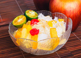 Shaved Ice dessert and Fresh fruits
