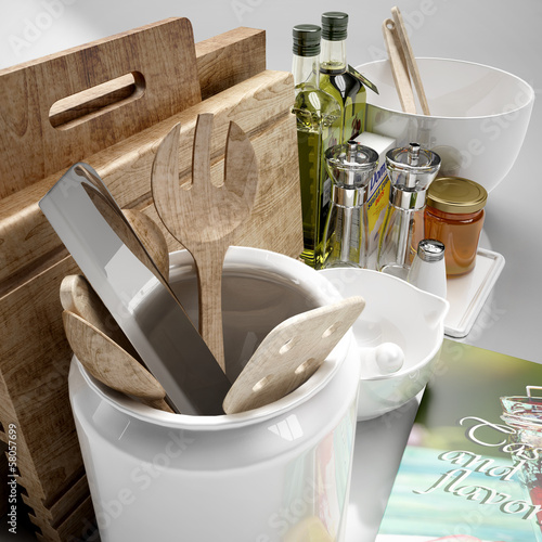kitchen tools and ingredients 3d illustration