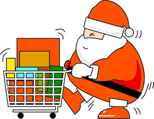 Santa Clause shopping Cristmas Eve Isolate.