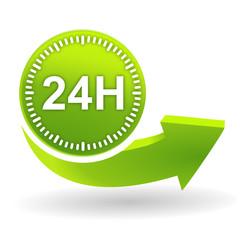 24 heures sur symbole vert
