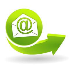 email sur symbole vert