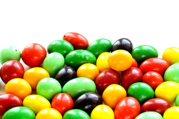 colorful candy drops (red, green, yellow)