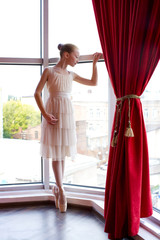 Attractive young ballerina near a window