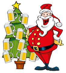 Babbo Natale e albero di birra