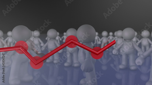 Team productivity graph, social network growth concept animation