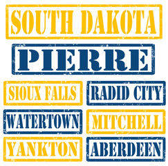 South Dakota Cities stamps