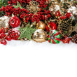 Colorful christmas decorations in red, gold, green
