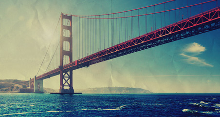retro golden gate bridge