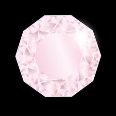 Shiny pink diamond. Vector