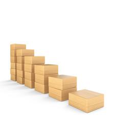 Aufwärtstrend aus Holz - 3D Bauklötze Diagramm eckig 5