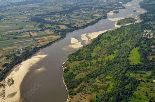 Aerial view - Vistula River near Warsaw, Poland