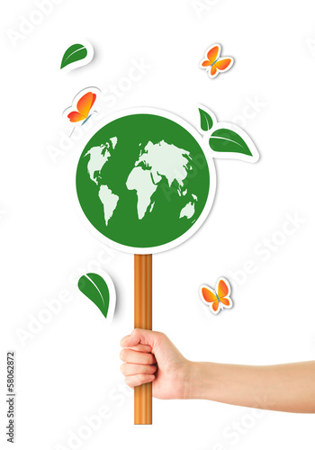 Hand holding ecological sign