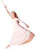 Young woman gymnast in white dress on rope.