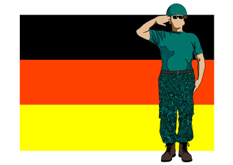 German flag and soldier