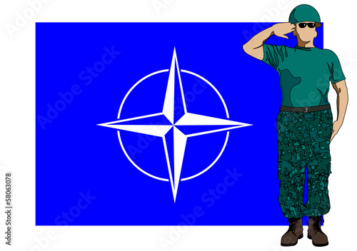 Nato flag and soldier