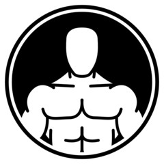 Bodybuilder symbol in black circle
