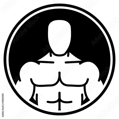 Bodybuilder symbol in black circle