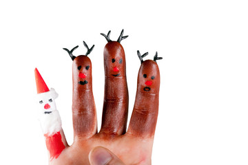 three funny reindeer and Santa  painted on the fingers