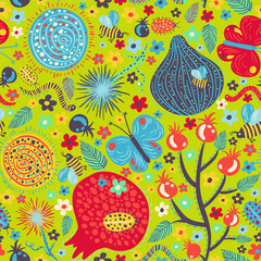 Vector pattern with lots of nature elements