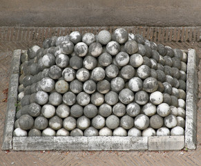 marble cannon balls in Castel St. Angel in rome