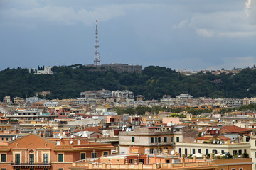 panorama of the city of Rome seen from Castel San Angelo with th