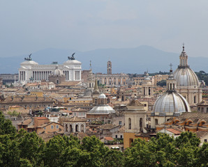 panorama of the city of Rome seen from Castel San Angelo with al