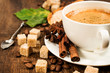coffee with cinnamon, star anise , coffee beans and cane sugar