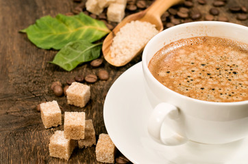 coffee with  coffee beans and cane sugar