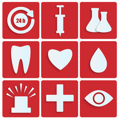 Icons of the white paper.set of medical icons on red background.