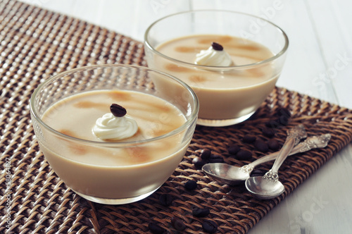 Dairy dessert with coffe flavor