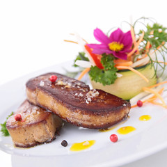 grilled foie gras with vegetables and flowers
