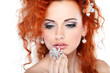 Red hair. Fashion girl portrait. Accessorys. Isolated