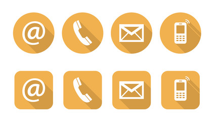 Set of web yellow flat icons, two variants - Contact Us