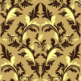 Seamless damask floral Ornament - beige and brown design.