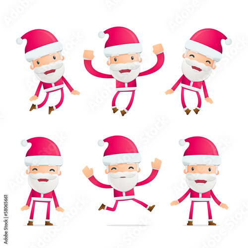 Santa in various poses for use in advertising, presentations,