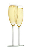 glasses of champagne on white background