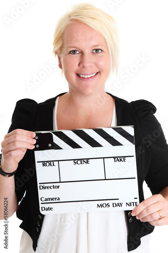 Woman holding a film slate